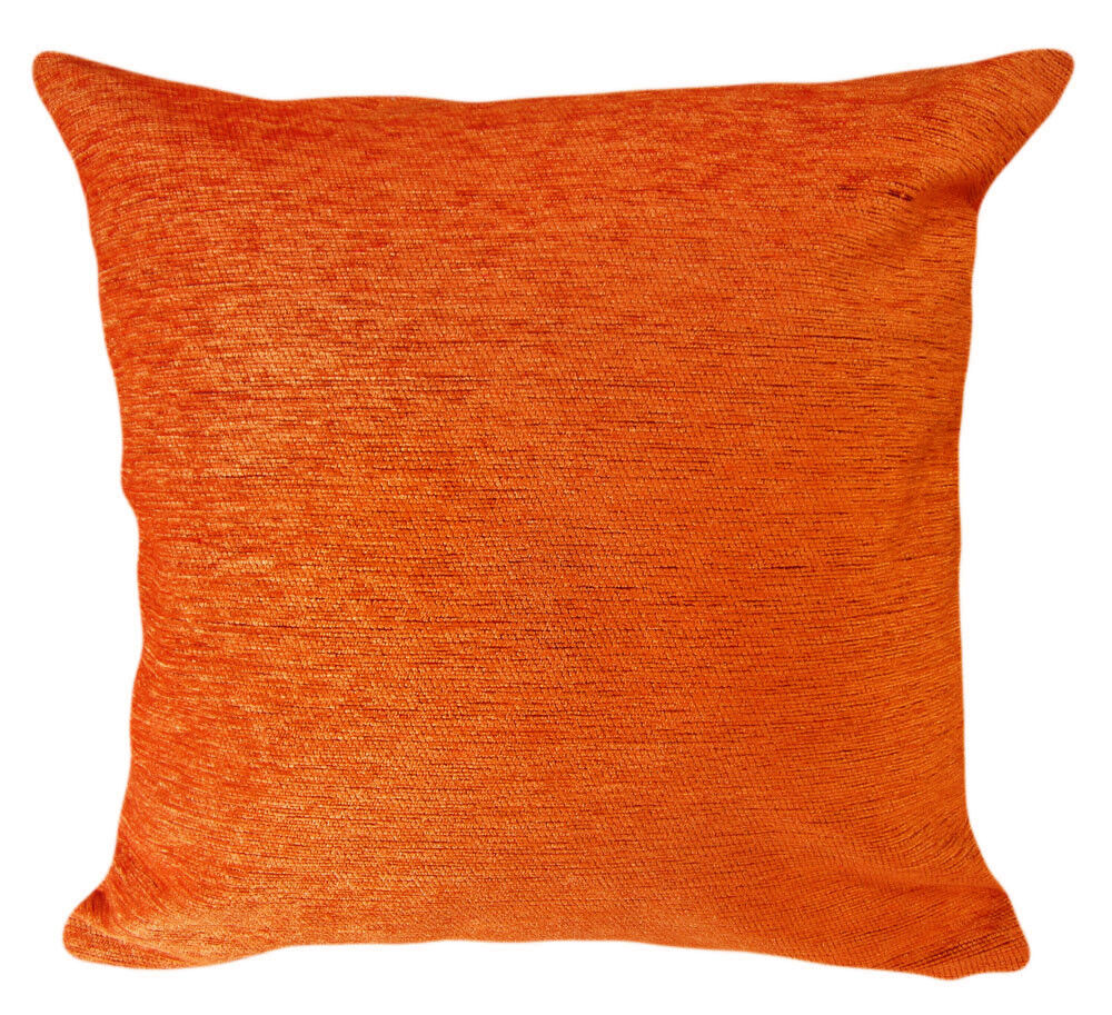 Wb06ba Orange Plain Thick Cotton Sofa Cushion Cover Pillow