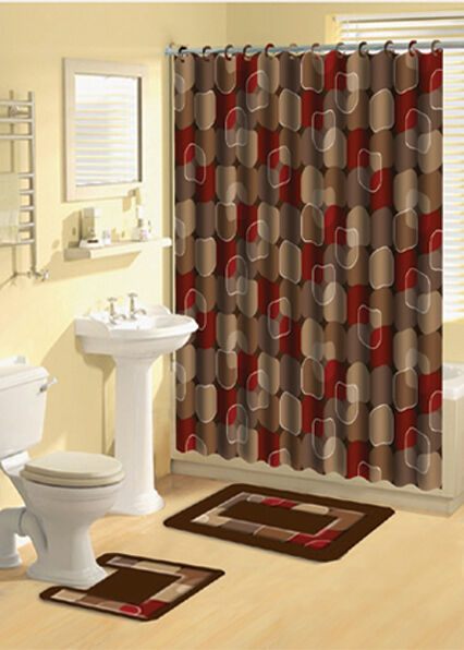 Modern Circles Brown Multi 15 Pcs Shower Curtain With