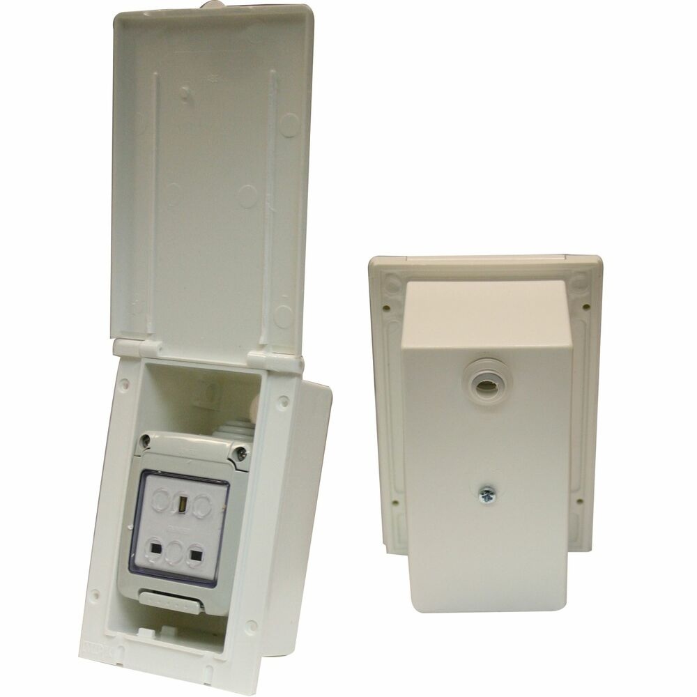 230v Electric Mains Flush Outlet Socket 13a White Weather