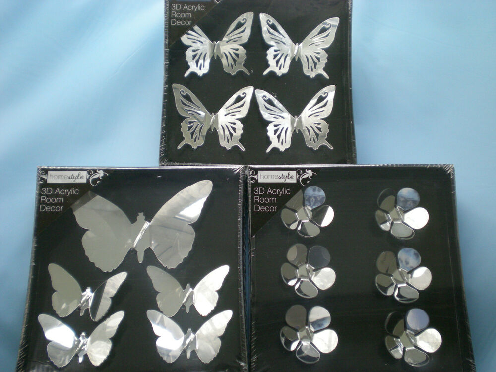Butterfly Mirror Wall Decoration : Set of acrylic d mirrored wall decoration butterflies
