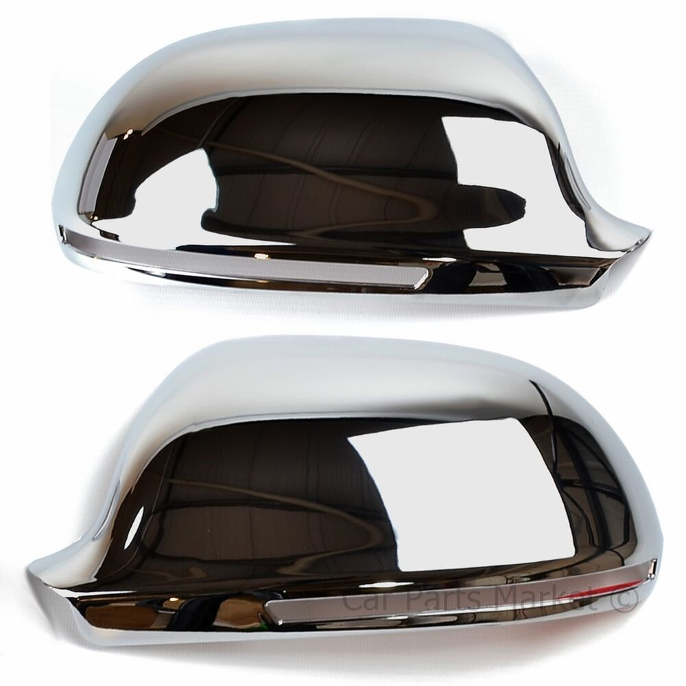 chrome set wing door mirror covers for audi a4 2008 2011. Black Bedroom Furniture Sets. Home Design Ideas