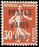 """FRANCE PREOBLITERE TIMBRE STAMP N°32 """"TYPE SEMEUSE, SURCHARGE 30C"""" NEUF xx TTB"""
