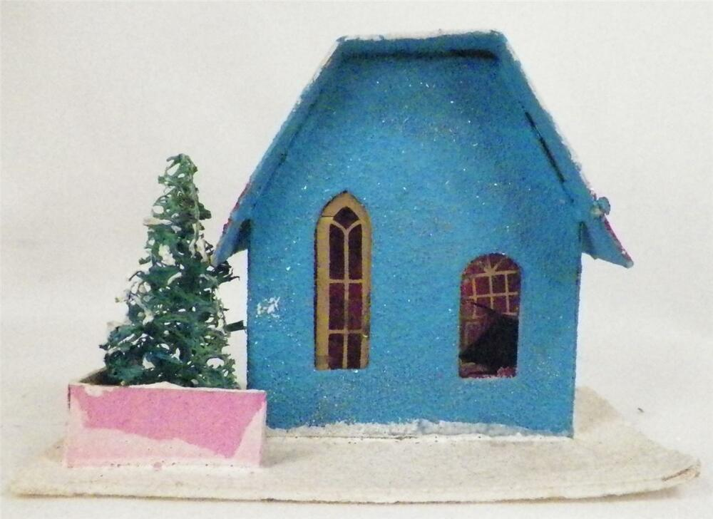 Turquoise Blue Christmas House Red Roof Train Yard Putz