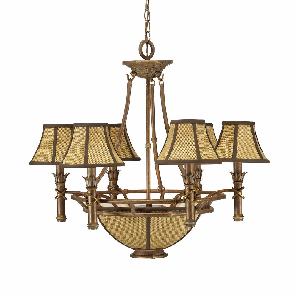ISLAND GOLD CHANDELIER WITH SHADES