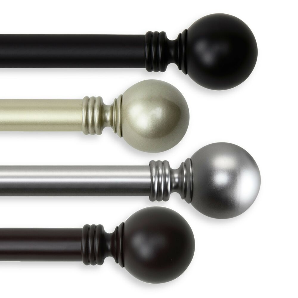 """Ball Curtain Rod 1"""" OD #10-01 Choose From 4 Colors And 5"""