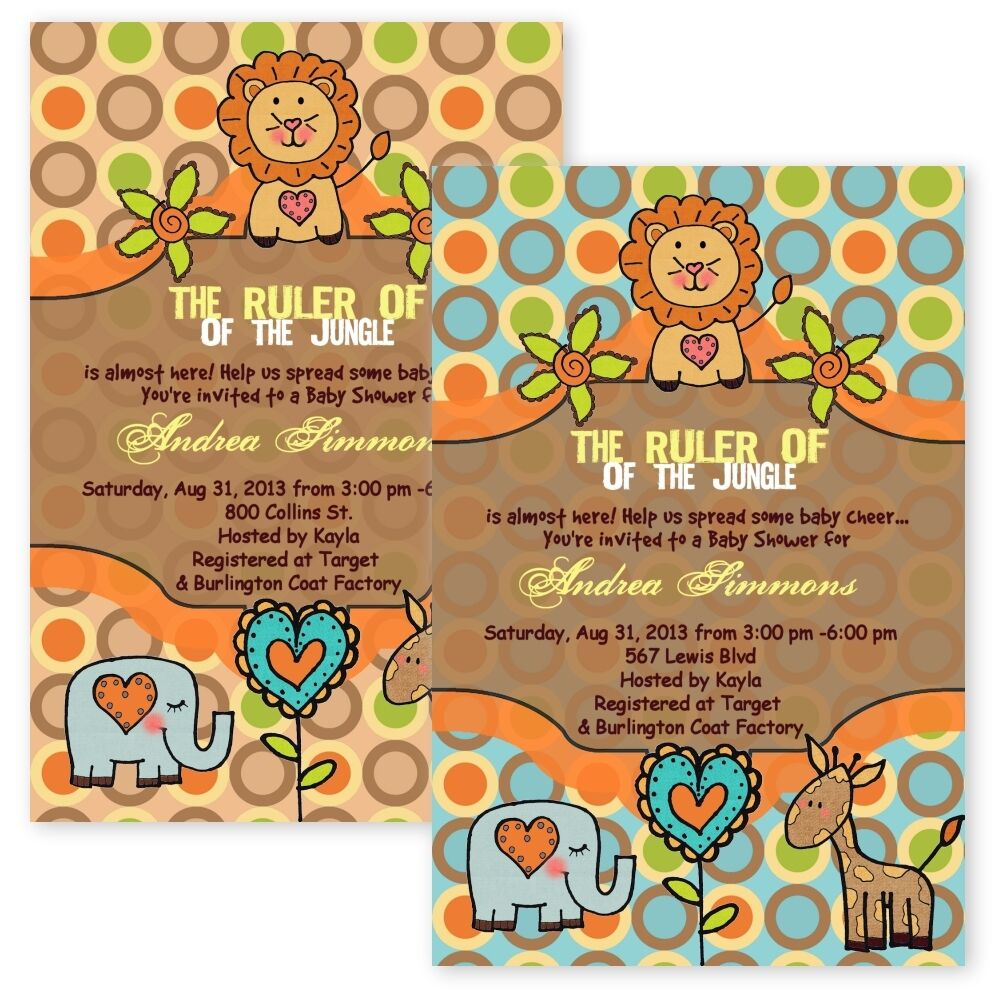 Baby Shower Invitations King Of The Jungle Lion Giraffe