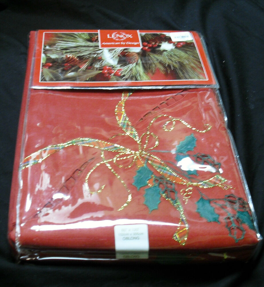 Lenox 60x120 holiday nouveau cutwork red green christmas for 120 table runner christmas