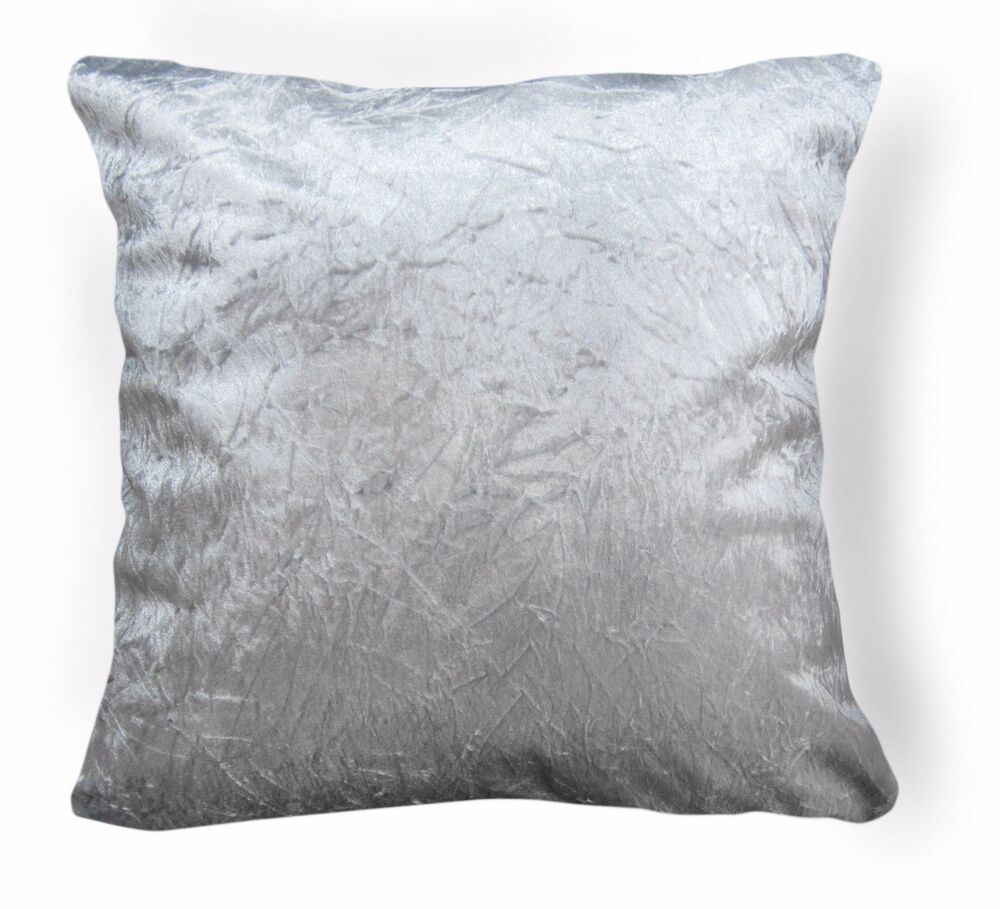 Mn112a Silver Crushed Velvet Style Cushion Cover Pillow