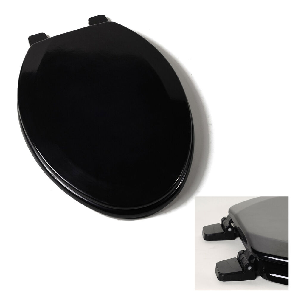 Deluxe Black Elongated Wood Toilet Seat Adjustable Hinges