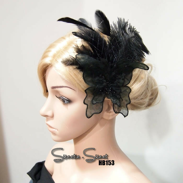 gatsby style hair accessories gatsby black lace butterfly feather flapper fascinator 4071