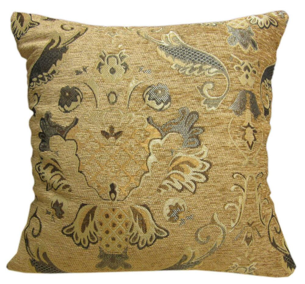 Brown Chenille Throw Pillows : Wd22Aa Gold Brown Damask Chenille Flower Throw Cushion Cover/Pillow Case *Size eBay