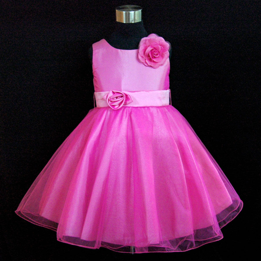 Fuchsia Pink Communion Pageant Flower Girl Dresses