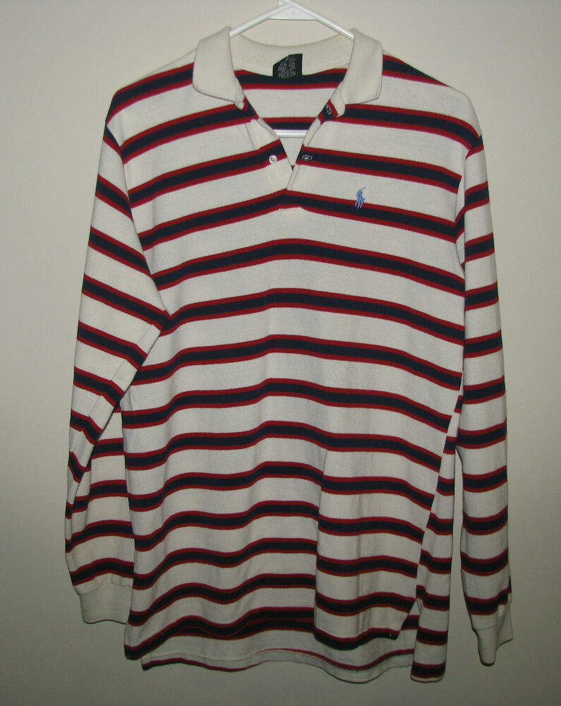 Vtg ralph lauren polo shirt long sleeve striped red blue for Red white striped polo shirt