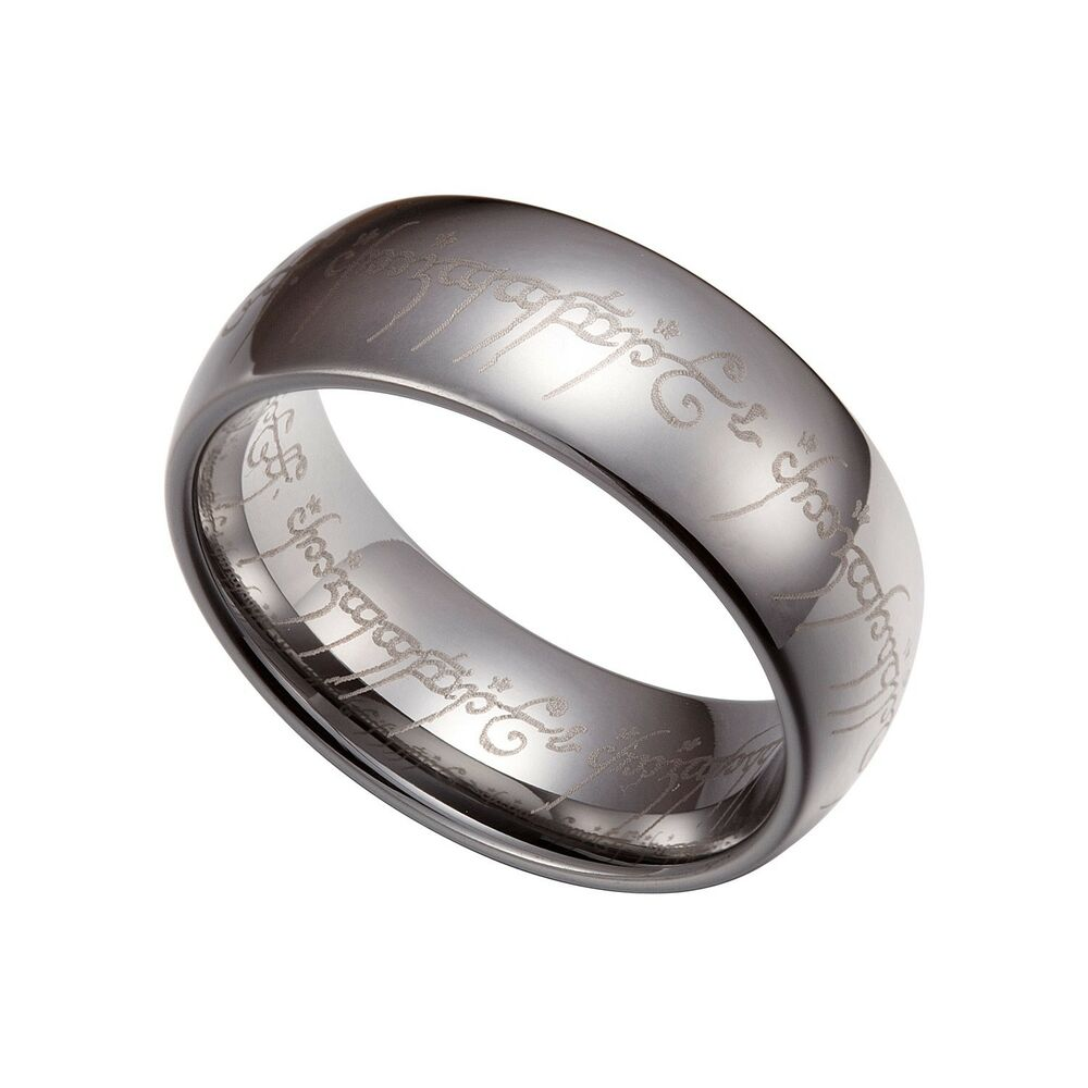 Silver Tungsten Carbide 7mm Lord Of The Rings Band Plain