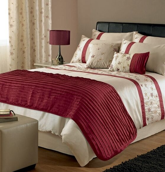 Super King Size Duvet Cover Egyptian Cotton Sweetgalas: STUNNING CREAM RED GOLD EMBROIDERED COTTON SUPER KING SIZE