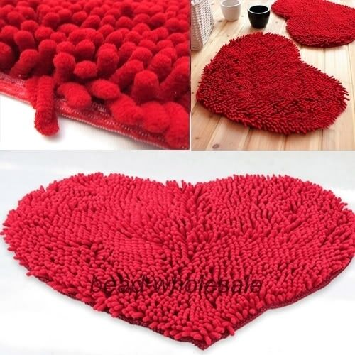 Red Heart Love Chenille Soft Fluffy Rug Floor Door
