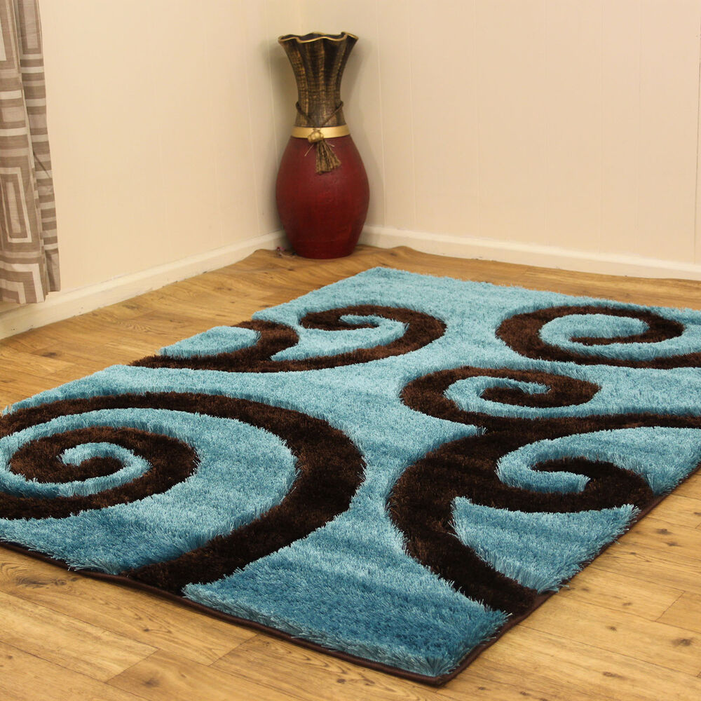 Large medium 3cm thick soft turquoise blue brown shiny sparkle shaggy r - Tapis shaggy turquoise ...