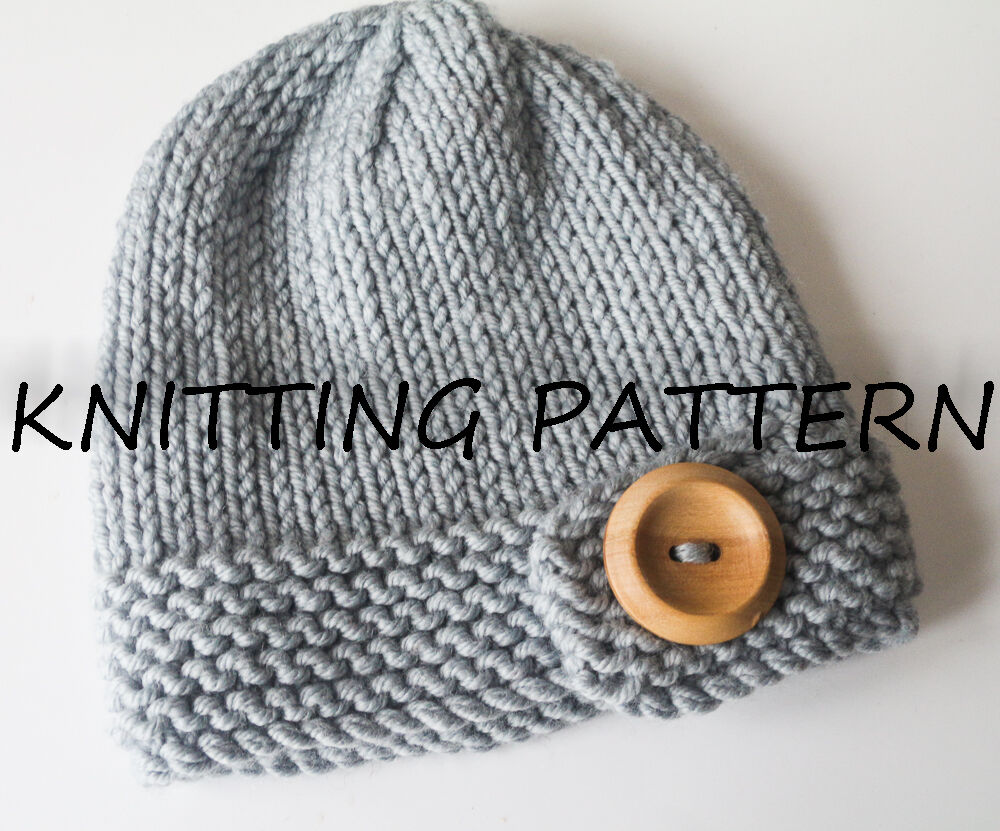 Pattern For Infinity Scarf Knit : KNITTING PATTERN -CHUNKY BUTTON BABY BEANIE HAT - EASY TO KNIT eBay