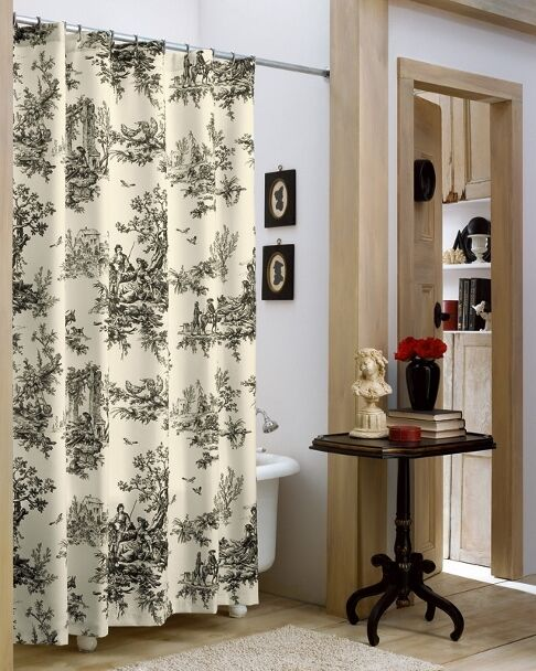 Black Toile Curtains In Kitchen