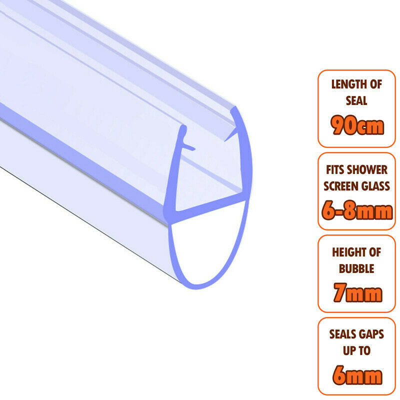 Bath Shower Screen Door Seal Strip Glass Thickness 6mm
