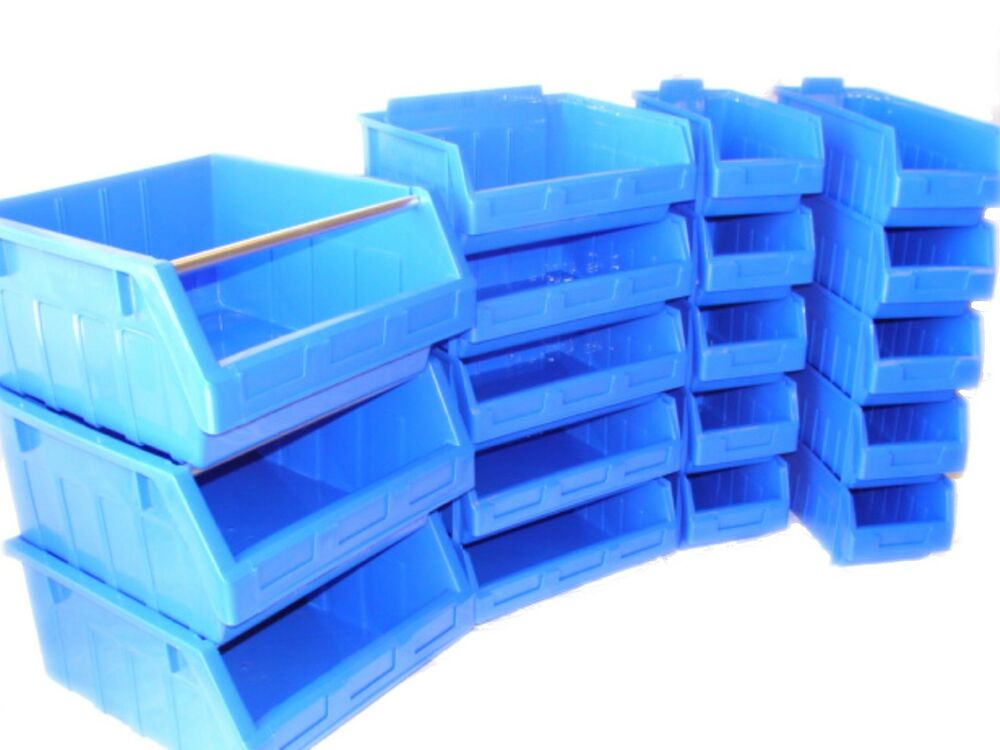 Plastic Stacking Parts Storage Bins 3 Colours 7 Sizes