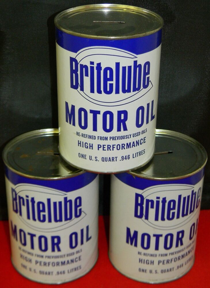 3 britelube motor oil quart can banks ebay for Quart of motor oil