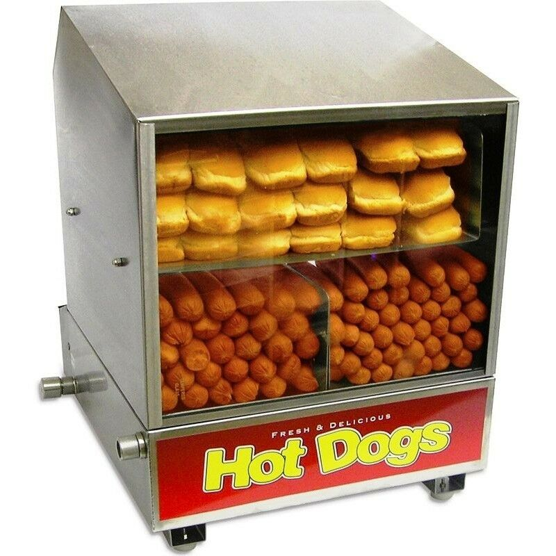 hot dog steamer bun warmer benchmark dog pound hotdog sauage cooker machine ebay. Black Bedroom Furniture Sets. Home Design Ideas