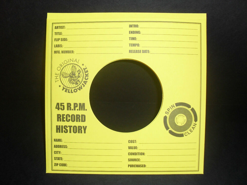 100 yellow jacket 45 rpm archival quality record sleeves