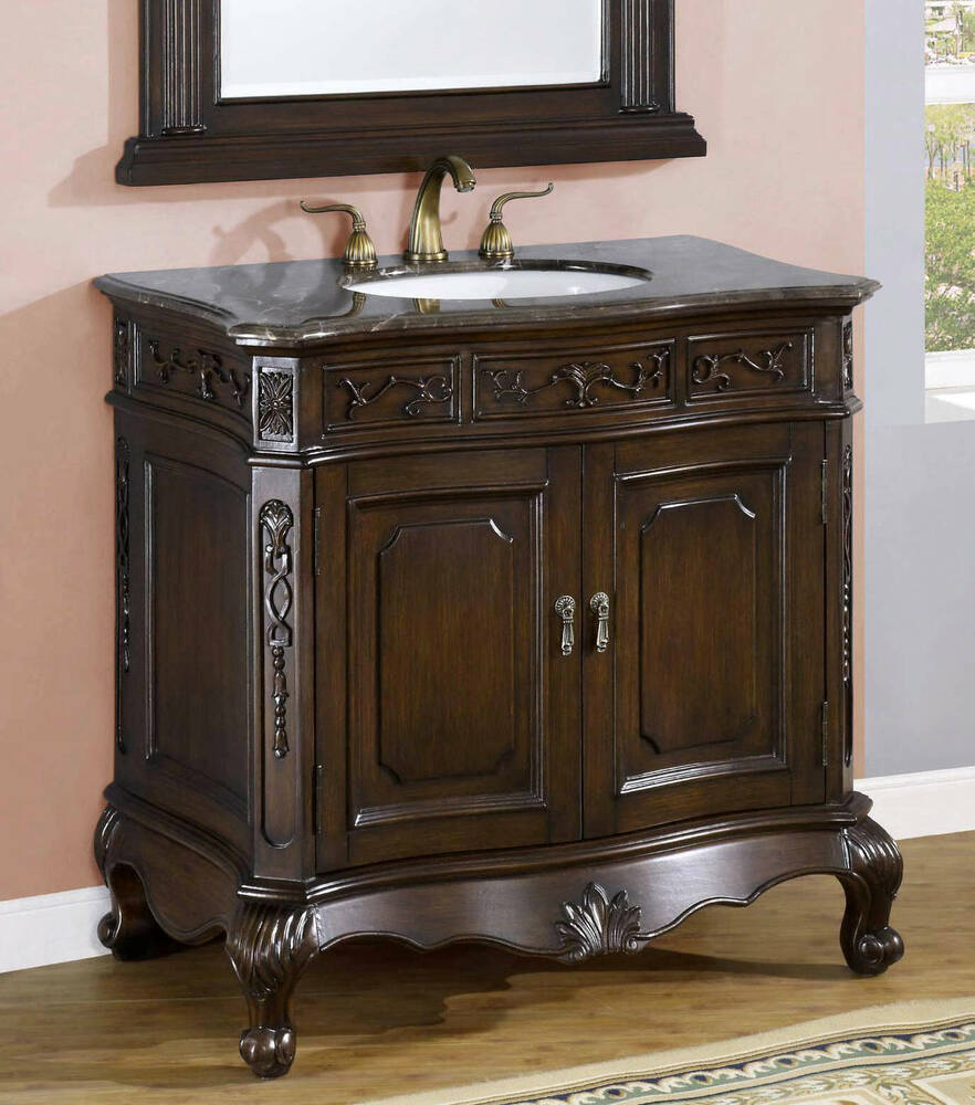 36 inch single sink bathroom vanity cabinet with marble top item