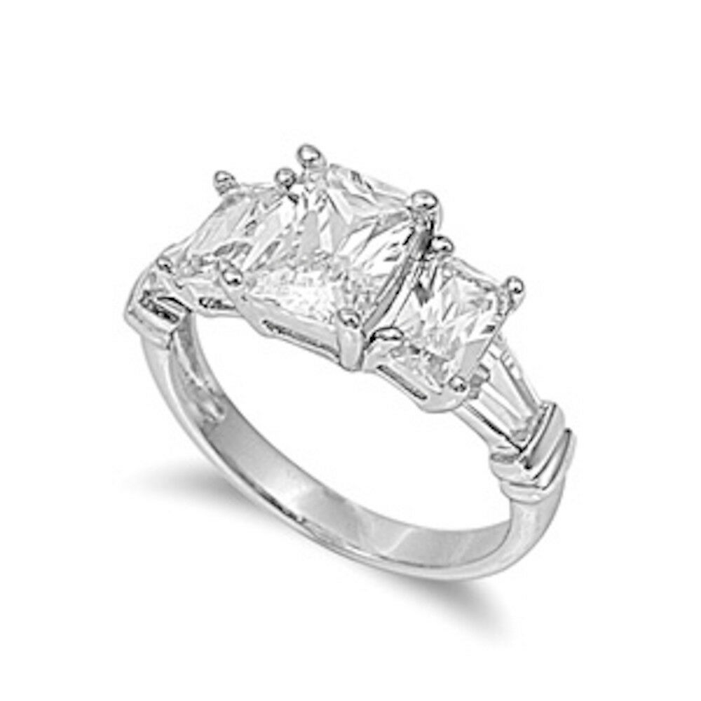 3 5CT Emerald Cut Stone Engagement Ring 925 Sterling Silver Ring Sizes 5 10