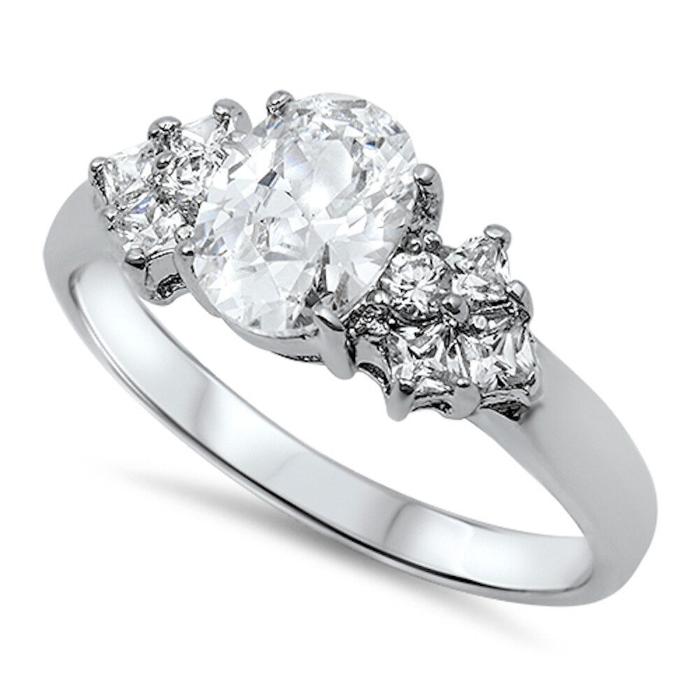 1.50CT OVAL CUT CZ ENGAGEMENT RING SOLID .925 Sterling