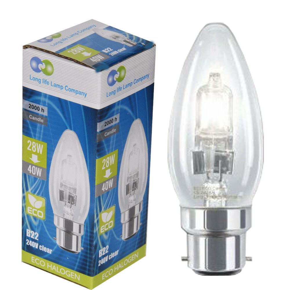 4 X Eco Halogen Candle 28w 40w Energy Saving Light Bulb B22 Bayonet Cap Ebay