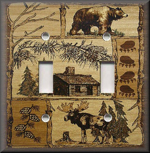 Light switch plate cover rustic bear and moose cabin for Moose decorations home