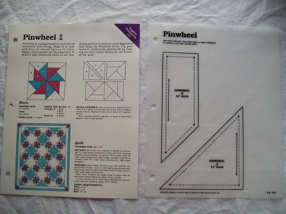 Quilting Patterns Instructions : Pinwheel - Quilt pattern and instructions eBay