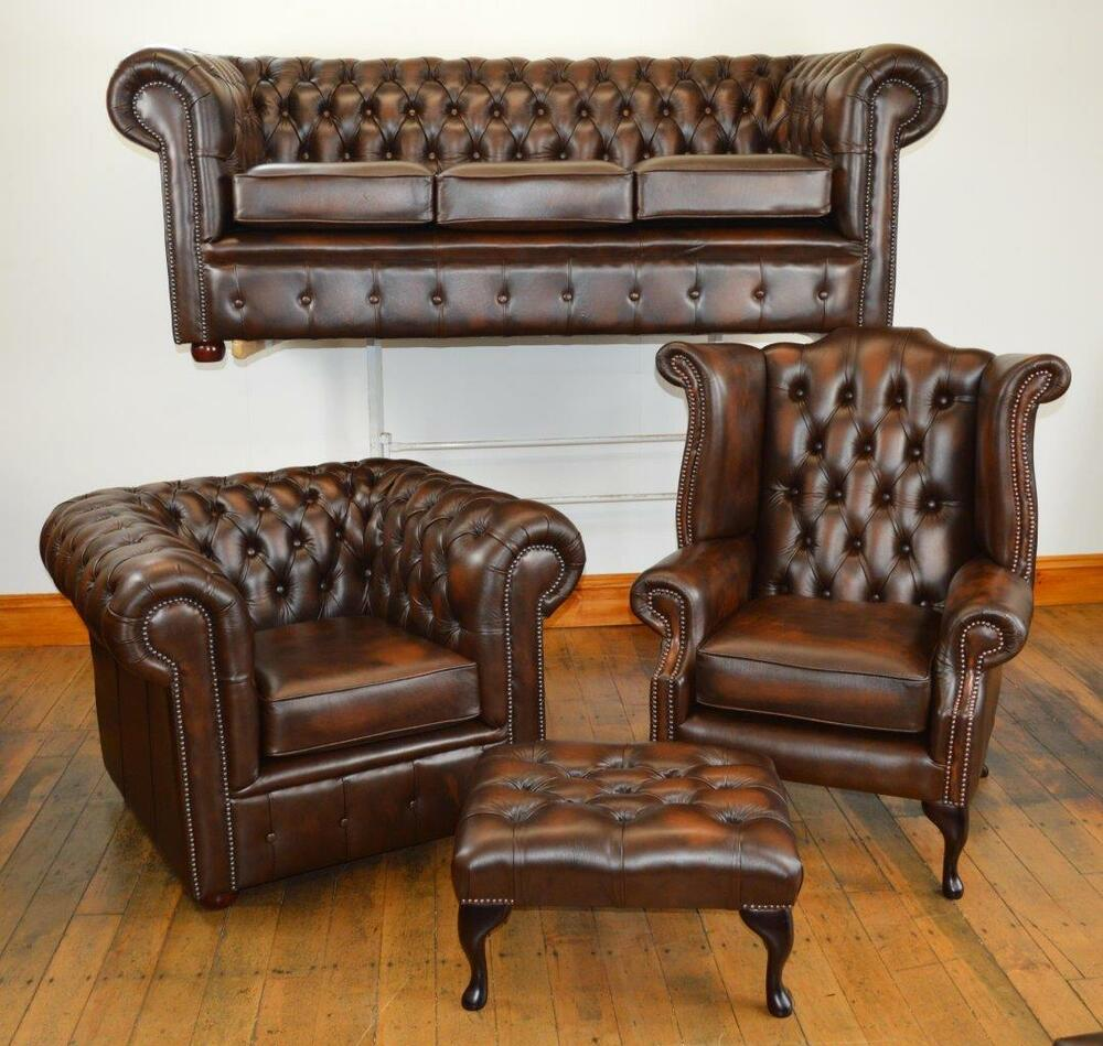 chesterfield leather suite chair sofa b new 3 colours ebay. Black Bedroom Furniture Sets. Home Design Ideas