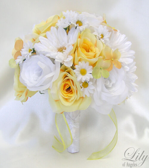 Black And Yellow Wedding Flowers: 17 Pieces Package Silk Flower Wedding Decoration Bridal