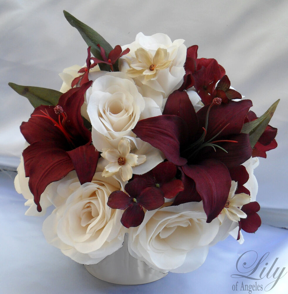 4 centerpieces wedding table decoration center flowers vase silk ivory burgundy ebay. Black Bedroom Furniture Sets. Home Design Ideas