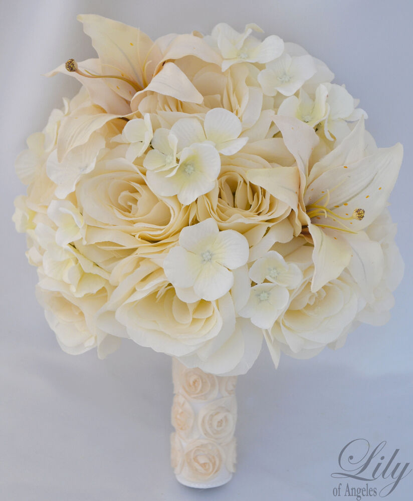 17pcs Wedding Bridal Bouquet Silk Flower Decoration Package Champagne IVORY