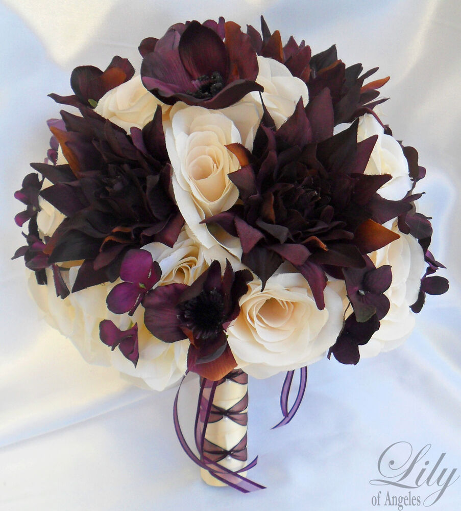 artificial wedding bouquet 17 pcs wedding bridal bouquet set decoration package silk 1381