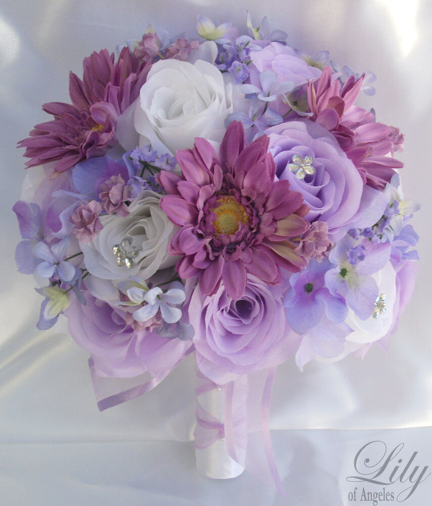 17pcs wedding bridal bouquet set decoration package flowers lavender