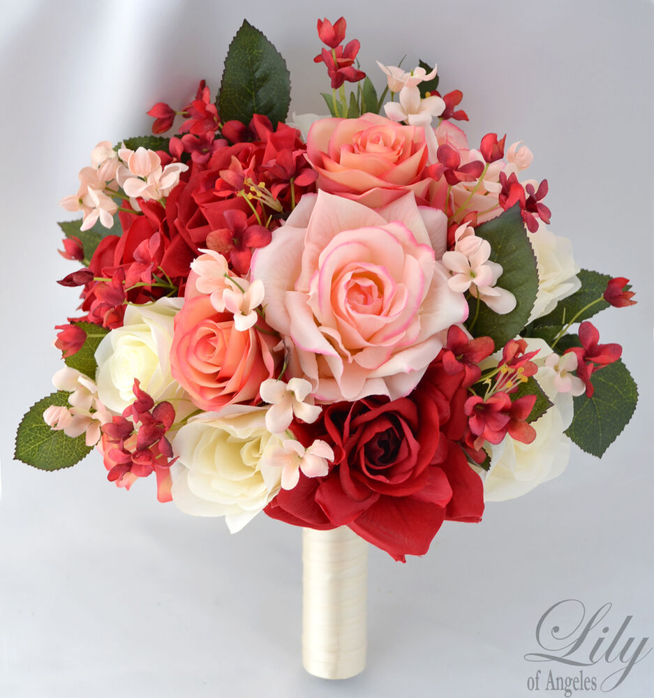 17pcs wedding bridal bouquet set silk flower decoration package red peach ivory ebay. Black Bedroom Furniture Sets. Home Design Ideas