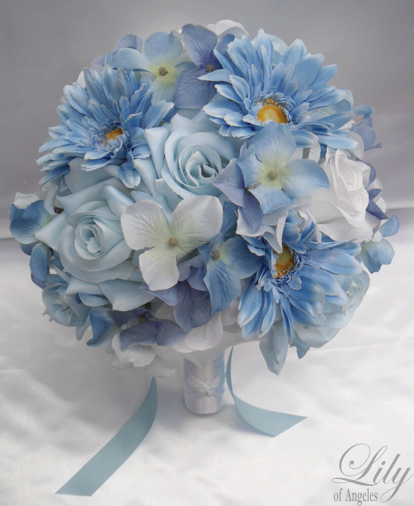 17 Pieces Wedding Bridal Bouquet Flower BLUE WHITE Bride