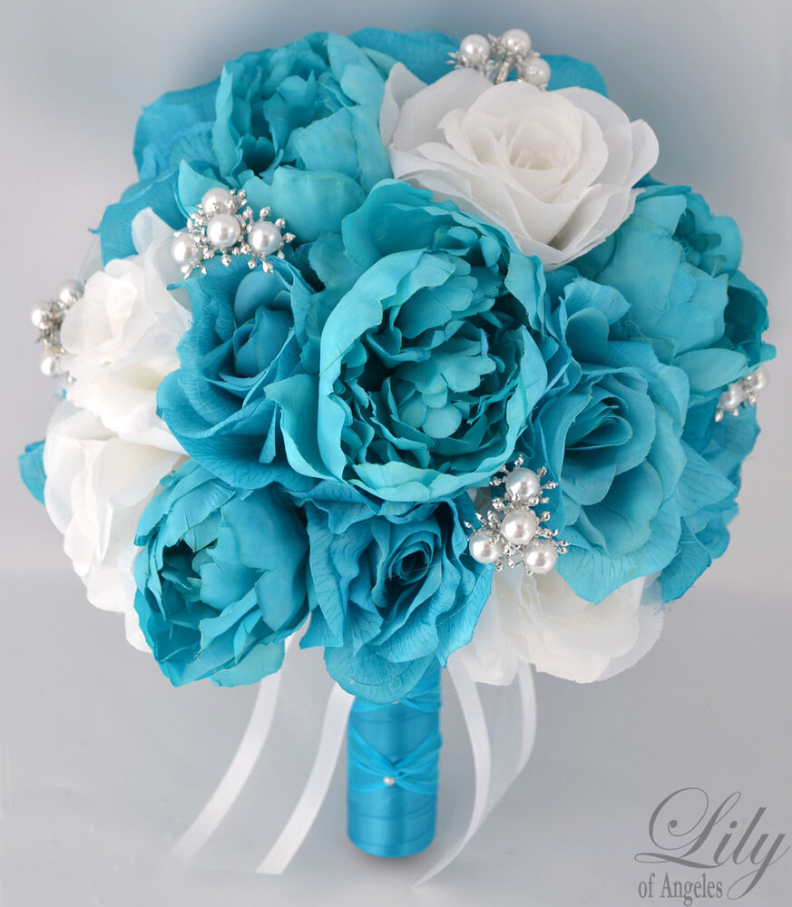 17pcs wedding bridal bouquet set silk flower decoration package turquoise white ebay. Black Bedroom Furniture Sets. Home Design Ideas