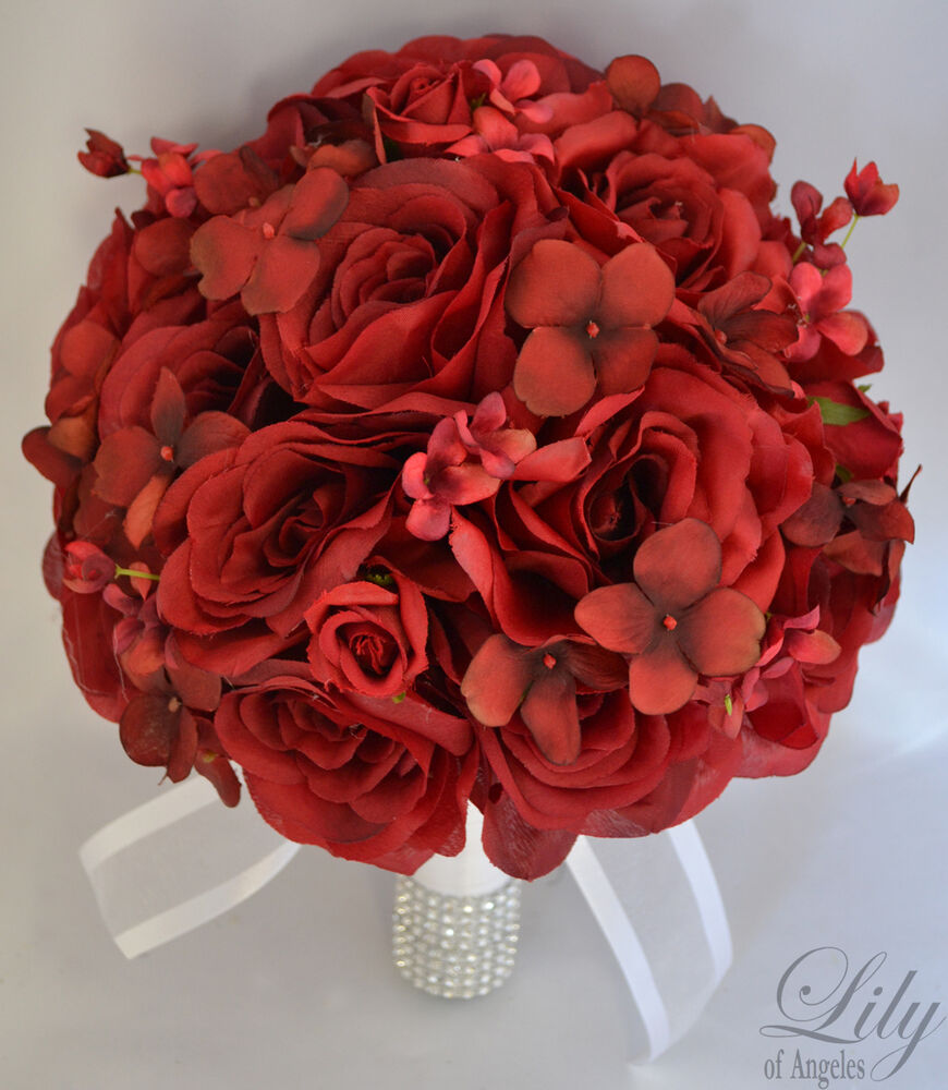 17pcs wedding bridal bouquet silk flower decoration package bride apple red ebay. Black Bedroom Furniture Sets. Home Design Ideas