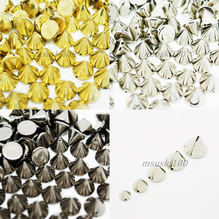 img-Spikes Sew On Stud Metal Plated Acrylic Leathercraft Bags Shoe Belt Gold Silver