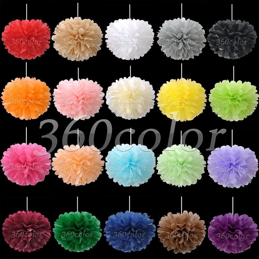 10 tissue paper pom poms flowers wedding party birthday decoration 6 8 10 15 ebay. Black Bedroom Furniture Sets. Home Design Ideas