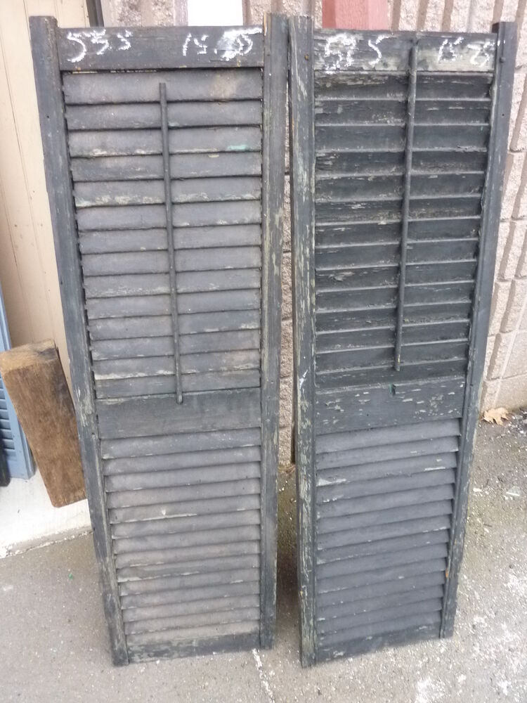 Pair Antique Victorian Louvered House Window Shutters