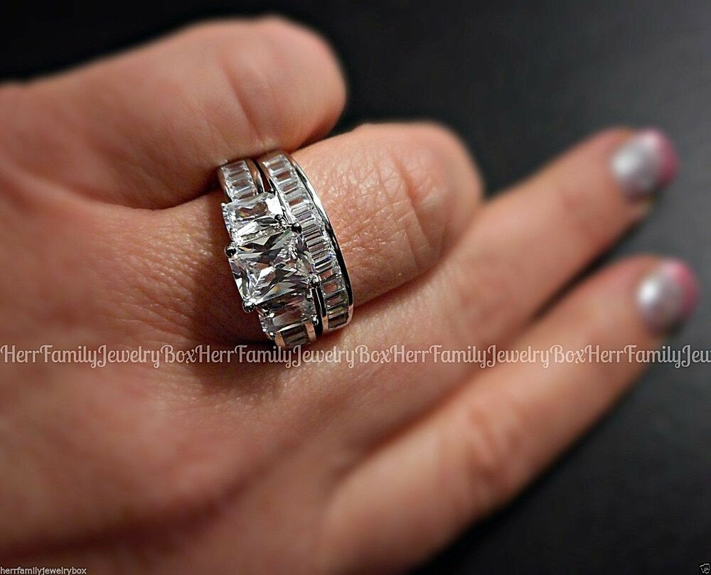 Sterling silver 14k white gold princess diamond cut for Wedding band and engagement ring set