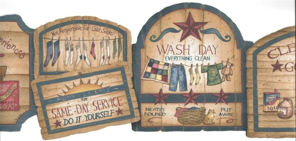 Wallpaper Border Designer Country Laundry Signs Tan With