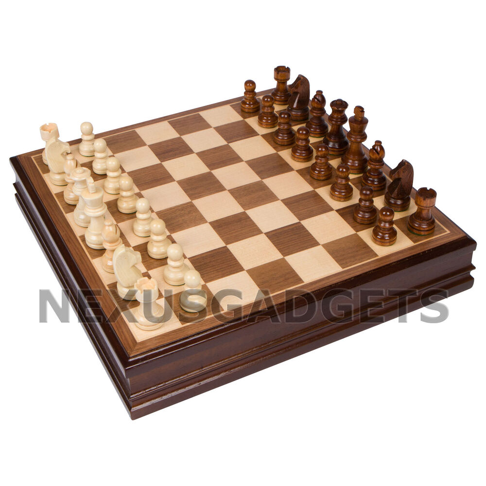 Wooden Chess Table ~ Chess board game set inch walnut finish inlaid wood